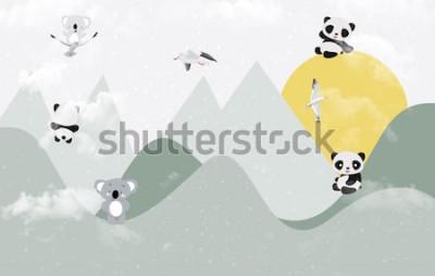 Nálepka Roztomilé koaly a pandy hrající v horách