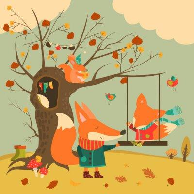 Nálepka Roztomilé lišky jízda na houpačce v podzimním lese