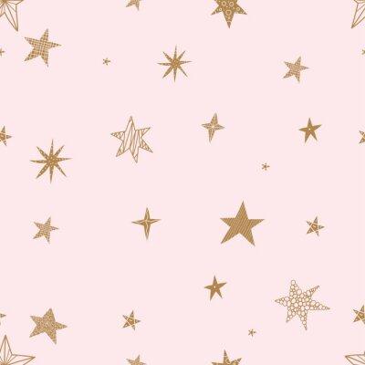 Nálepka Roztomilé zlaté hvězdy. Bezešvá vektorová vzor. Bezešvé vzor lze použít pro tapety, vzorkové výplně, pozadí webové stránky, povrchové textury.
