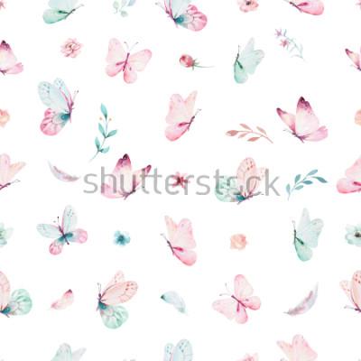 Nálepka Roztomilý akvarel jednorožec bezešvé vzor s květinami. Mateřské magické jednorožec vzory. Textura duhy princezny. Módní růžové kreslený pony koně.