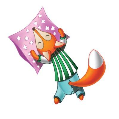 Nálepka Roztomilý kreslený liška v pyžamu spí