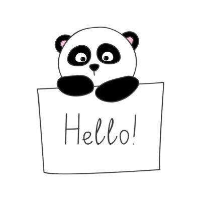 Nálepka Roztomilý kreslený panda na bílém