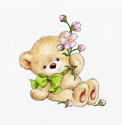 Nálepka Roztomilý medvídek s květinami