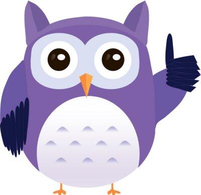 Nálepka Roztomilý vektor fialová sova ukazuje palec nahoru