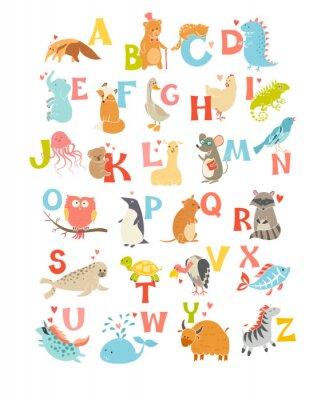 Nálepka Roztomilý vektor zoo abecedy. Legrační karikatury zvířat. Vektorové ilustrace EPS10 na bílém pozadí. Písmena. Naučte se číst