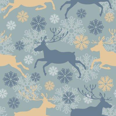 Nálepka Roztomilý Veselé Vánoce bezešvé vzor s sobů a sněhové vločky. Vintage vektorové ilustrace.
