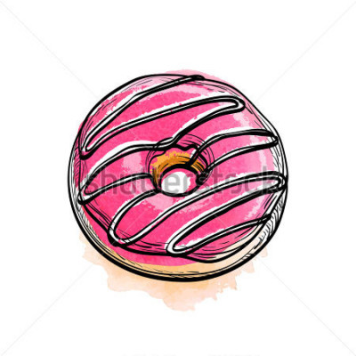 Nálepka Ručně kreslené vektorové ilustrace donut.