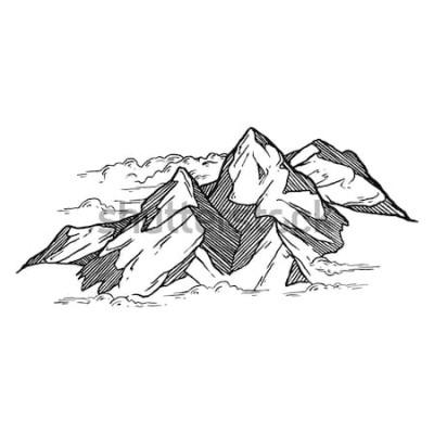Nálepka ručně kreslenou vektorové ilustrace z hor