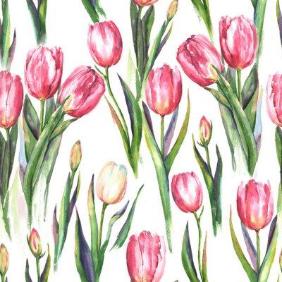 Nálepka Ručně kreslený akvarel bezproblémový vzor s růžovými a bílými tulipány. Opakovaná jarní tisk textilu, tapety. Nabídka a krásné pozadí