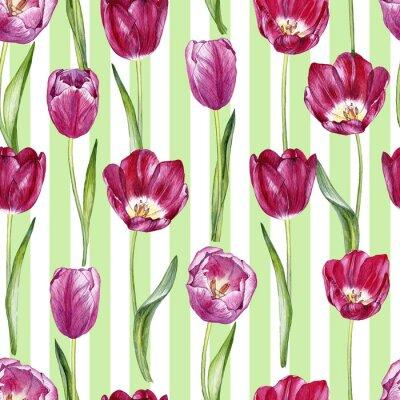 Nálepka ručně kreslený akvarel bezproblémový vzor s tulipány