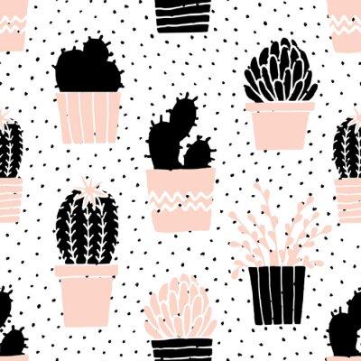 Nálepka Ručně kreslenými Cactus Pattern