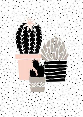 Nálepka Ručně kreslenými Cactus Plakát