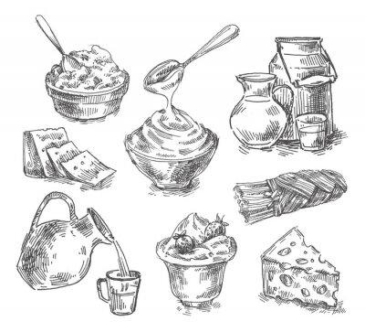 Nálepka ručně kreslenými mléčné výrobky, mléko, sýr. skica