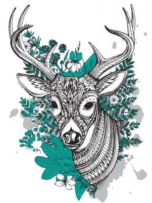 Nálepka Ručně kreslenými vektorové rohatý jelen s vysokými detaily ornament