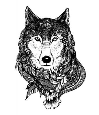 Nálepka Ručně malovaná abstraktní vlk vektorové ilustrace