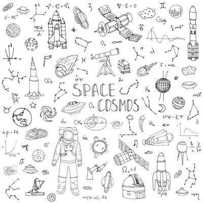 Nálepka Ručně malovaná doodle prostor a Cosmos nastavit vektorové ilustrace Universe kolekce ikony Space různé experimentální prvky raketové kosmické lodi symboly planet sluneční soustavy Galaxy Mléčná dráha