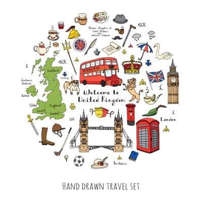 Nálepka Ručně malovaná doodle Velká Británie nastavit vektorové ilustrace britské ikony Vítejte v Londýně prvků britský sbírka symboly Tea Bus Jízda na koni Golf Crown Pivní Lion Bulldog London Bridge Big Ben