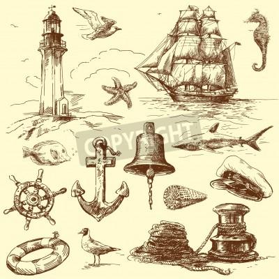 Nálepka ručně malovaná Námořní sbírka