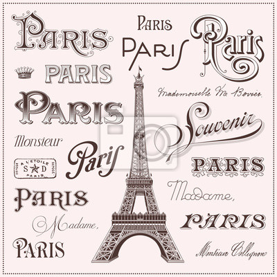 Nálepka ručně malovaná Paris designové prvky