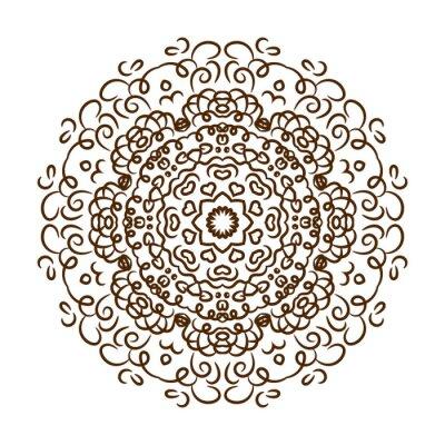 Nálepka Ručně malovaná tetování hennou mandalu. Vektor krajky ornament.