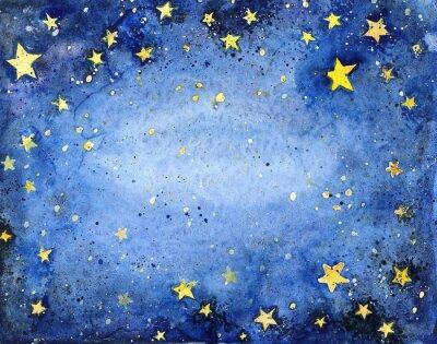 Nálepka Ručně malované akvarel modré nebe s jasnými hvězdami