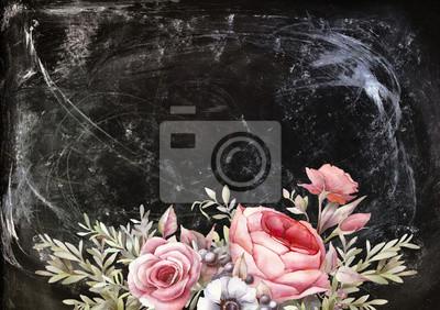 Ručně malované vintage design karty s květinovými kompozicemi na křídu palubě. Akvarel ilustrace: kytice květů na tmavém pozadí. Pivoňky, růže, sasanky, větve a bobule