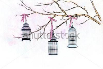 Nálepka Ručně růžové akvarel tři klece ptáků na větvích stromů s růžovými stužkami.
