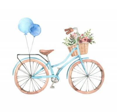 Nálepka Ručně tažené akvarel ilustrace - romantické kolo s květinovým košem v pastelových barvách. Městské kolo. Amsterdam. Ideální pro pozvánky, pohlednice, plakáty, tisky