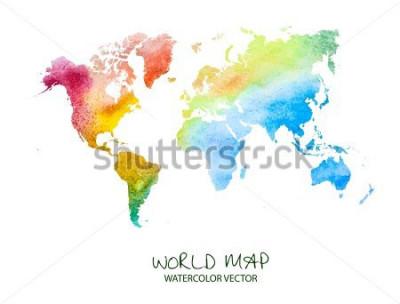 Nálepka ručně tažené akvarel mapa světa izolovaných na bílém. Vektorová verze