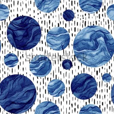 Nálepka Ručně tažené bezešvé pattern akvarel hluboké modré kruhy. Mramorová Textura