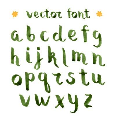 Nálepka Ruční výroba inkoustu zelená abecedy.
