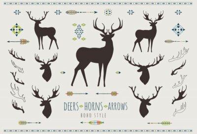 Nálepka Rustikální Antlers. Sada siluety rustikálních vzorů parohu