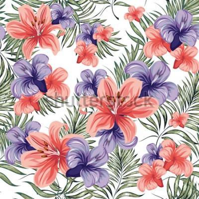 Nálepka Růže. Kvetoucí rostliny jaro-léto květiny. Bezešvé vzor. Vektorový obrázek.
