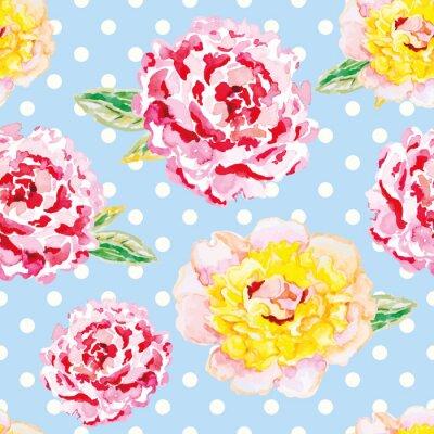 Nálepka Růžová a žlutá pivoňky na světle modrém polka dot pozadí. Akvarel bezešvé vzor s květinami. Otrhaný šik.