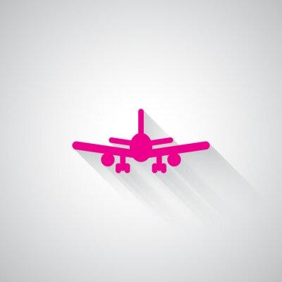 Nálepka Růžová Letadlo web ikonu na světle šedém pozadí