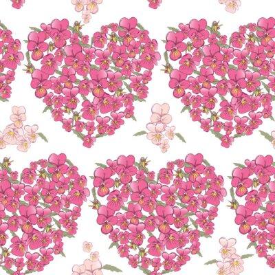 Nálepka Růžová srdce macešky na bílém pozadí. bezešvé pozadí