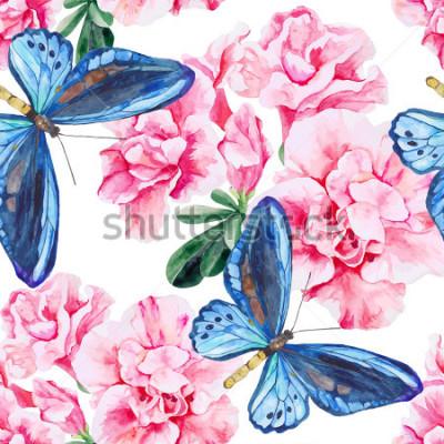 Nálepka Růžové azalky a modré motýly. Bezešvé, ručně malované, akvarel vzor. Vektorové pozadí