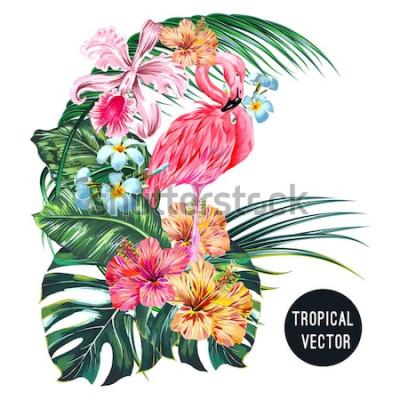 Nálepka Růžový plameňák pták, tropické květiny, palmové listy, monstera, plumeria, ibišek, květ orchideje, složení listů džungle. Vektorové exotické rostliny botanické ilustrace izolované na bílém pozadí