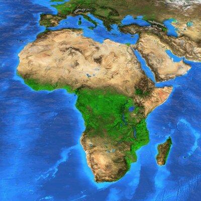 Nálepka S vysokým rozlišením mapa světa zaměřila na Afriku