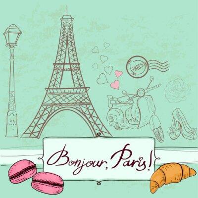 Nálepka Šablona s Paříží symboly