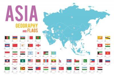 Nálepka Sada 50 vlajek Asie izolovaných na bílém pozadí a mapu Asie s zeměmi, které se na něm nacházejí.