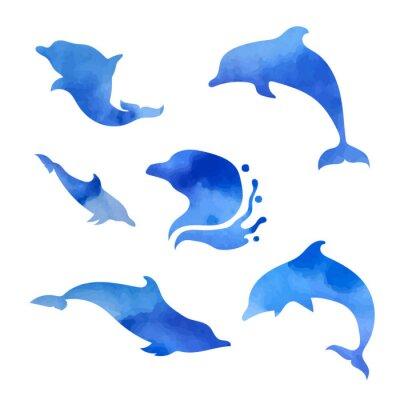 Nálepka Sada akvarelových delfínů