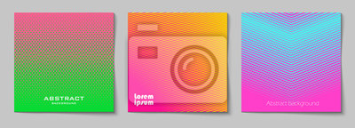 Nálepka Sada čtvercových abstraktních pozadí s polotónovým vzorem v neonových barvách. Sbírka gradientových textur s geometrickým ornamentem. Šablona návrhu letáku, banneru, obálky, plakátu. Vektor
