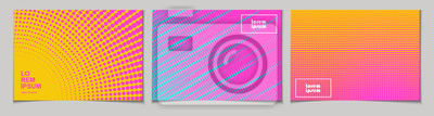 Nálepka Sada horizontální abstraktní pozadí s polotónovým vzorem v neonových barvách. Sbírka gradientových textur s geometrickým ornamentem. Šablona návrhu letáku, banneru, obálky, plakátu. Vektor