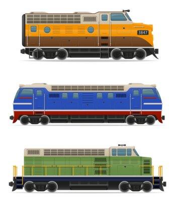 Nálepka Sada ikon železniční lokomotiva vlak vektorové ilustrace