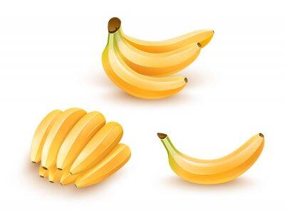 Nálepka Sada izolovaných banánů ovoce.