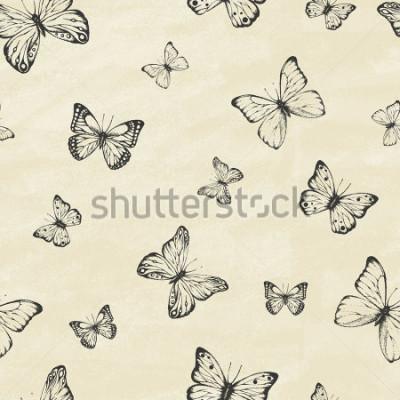Nálepka Sada kreslených motýlů. Entomologická sbírka vysoce detailních dostupných kreslených motýlů. Retro vintage styl. Bezešvé vzor. Vektorové ilustrace.