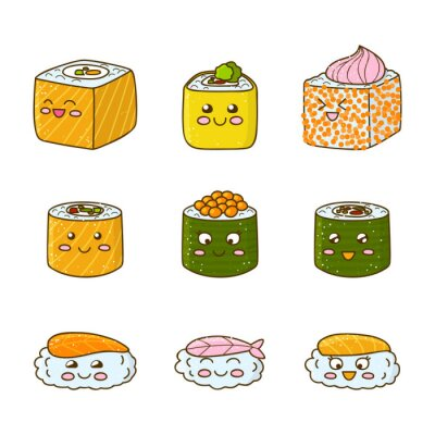 Nálepka Sada legrační sushi a rohlíky