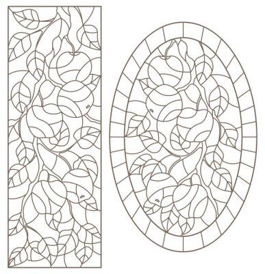 Nálepka Sada obrysových ilustrací barevného skla Windows s větví stromu, větev stromu Apple, tmavé obrysy na bílém pozadí, obdélníkové a oválné obrázky