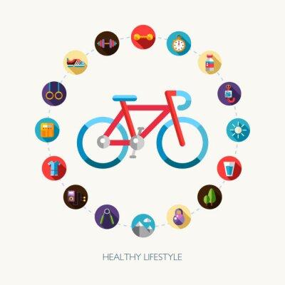 Nálepka Sada plochých konstrukčních sportů, fitness a zdravého životního stylu ikony